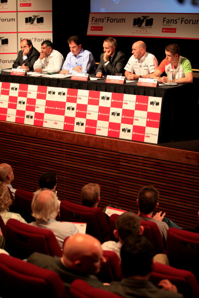 British Academy of Film and Television Arts, London, UK1st July 2010The panel featured Martin Whitmarsh, FOTA chairman and team principal of Vodafone McLaren Mercedes, Tony Fernandes, team principal of Lotus Racing, Jock Clear, Senior Race Engineer, Mercedes GP Petronas F1 Team, Luca Colajanni, Head of Motorsport Press Office, Scuderia Ferrari Marlboro and Paul di Resta, Force India test and reserve driver with James Allen as compere.World Copyright: Andrew Ferraro/LAT Photographicref: Digital Image _MG_9081