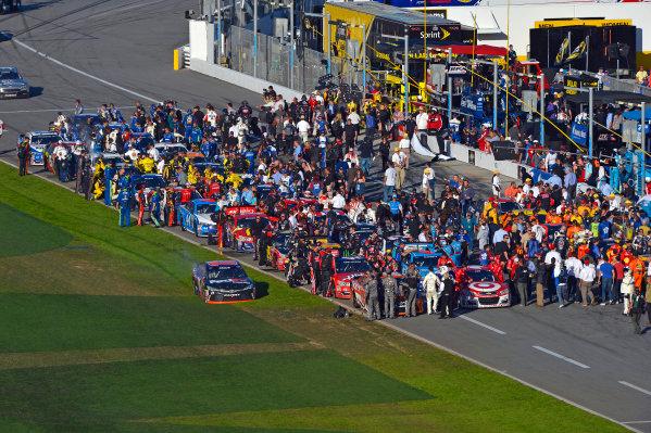13-21 February, 2016, Daytona Beach, Florida USA Winner Denny Hamlin, FedEx Express Toyota Camry has to cut through the grass to get to Victory Lane. ?2016, F. Peirce Williams LAT Photo USA