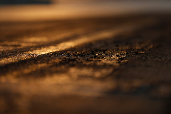 Hungaroring, Budapest, Hungary. Friday 24 July 2015. Track surface detail as the sun rises. World Copyright: Charles Coates/LAT Photographic ref: Digital Image _N7T6253