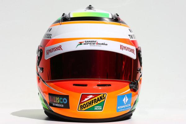 Albert Park, Melbourne, Australia. Thursday 13 March 2014. The helmet of Sergio Perez (MEX) Sahara Force India F1. World Copyright: xpb Images/LAT Photographic. ref: Digital Image 2014helmets23