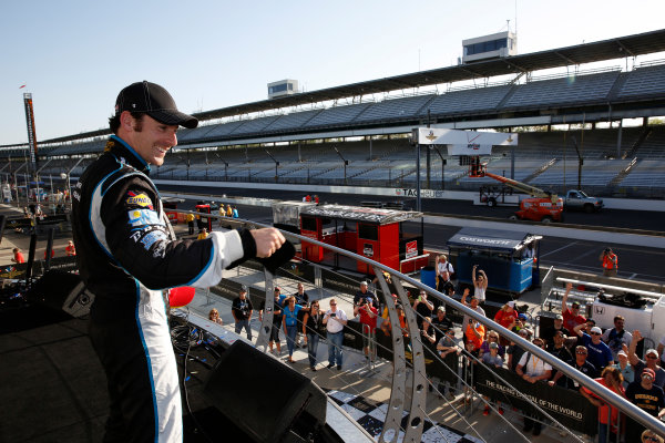 8-10 May, 2014, Indianapolis, Indiana, USA Winner Simon Pagenaud throws hats to the fans ©2014, Michael L. Levitt LAT Photo USA