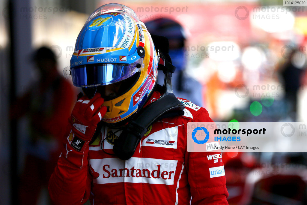 Circuit de Catalunya, Barcelona, Spain. Saturday 10 May 2014. Fernando Alonso, Ferrari, in Parc Ferme. World Copyright: Andy Hone/LAT Photographic. ref: Digital Image _ONZ0895