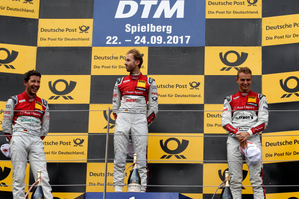 2017 DTM Round 8  Red Bull Ring, Spielberg, Austria  Sunday 24 September 2017. Podium: Race winner René Rast, Audi Sport Team Rosberg, Audi RS 5 DTMm second place Mike Rockenfeller, Audi Sport Team Phoenix, Audi RS 5 DTM, third place Nico M?ller, Audi Sport Team Abt Sportsline, Audi RS 5 DTM  World Copyright: Alexander Trienitz/LAT Images ref: Digital Image 2017-DTM-RBR-AT3-2736