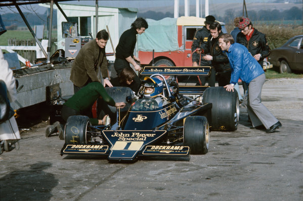 Goodwood, West Sussex, England, Ronnie Peterson test the new Lotus 76-Ford, action.  World Copyright: LAT Photographic. Ref:  Colour Transparency.