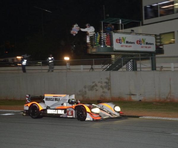 17-20 October, 2012, Braselton, Georgia USA.#6 Muscle Milk Pickett Racing taking checkered flag to win championship.(c)2012 Dan R. Boyd, LAT Photo USA