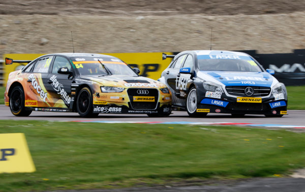 2015 British Touring Car Championship  Round 3 - Thruxton, Hampshire.  Thruxton, 9th-10th May 2015.  Hunter Abbott, Austin Audi, hits Aiden Moffat, Aiden Moffat Mercedes.  Ref: _W7_3738a. World copyright: Kevin Wood/LAT Photographic
