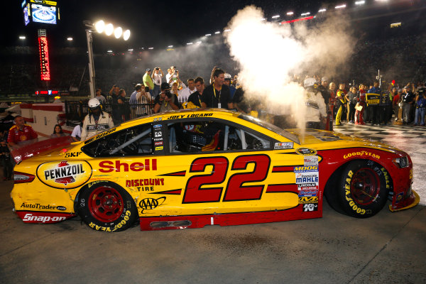 22-23 August, 2014, Bristol, Tennessee USA Joey Logano drives into victory lane ?2014, Lesley Ann Miller LAT Photo USA