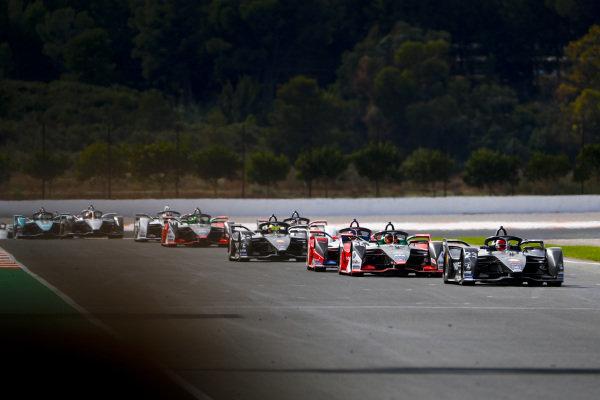 Sébastien Buemi (CHE), Nissan e.Dams, Nissan IMO2, Daniel Abt (DEU), Audi Sport ABT Schaeffler, Audi e-tron FE06, Pascal Wehrlein (DEU), Mahindra Racing, M6Electro and Oliver Rowland (GBR), Nissan e.Dams, Nissan IMO2