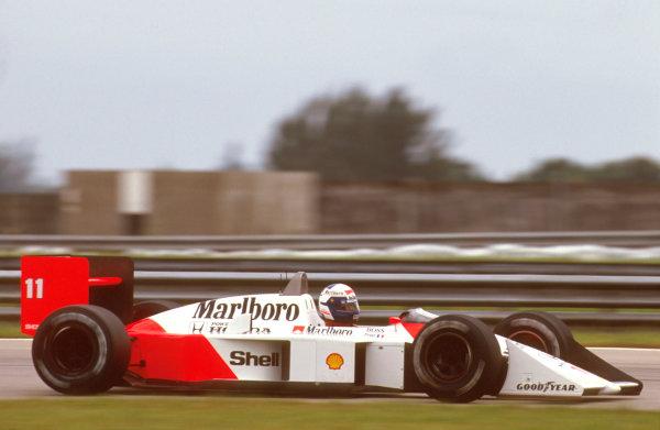 Jacarepagua, Rio de Janeiro, Brazil.1-3 April 1988.Alain Prost (McLaren MP4/4 Honda) 1st position.Ref-88 BRA 15.World Copyright - LAT Photographic