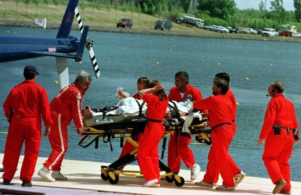 1997 Canadian Grand Prix.Montreal, Quebec, Canada.13-15 June 1997.Olivier Panis (Prost Mugen Honda) is taken away on a stretcher after crashing heavily stopping the race.World Copyright - LAT Photographic
