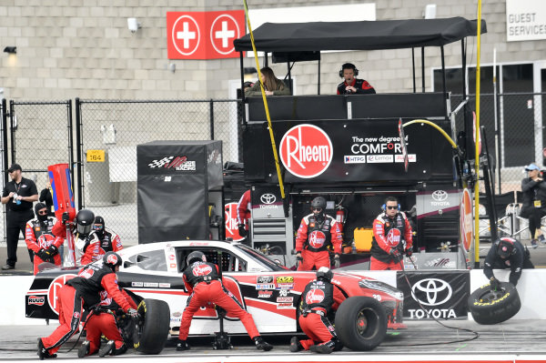 #20: Christopher Bell, Joe Gibbs Racing, Toyota Supra Rheem, makes a pit stop