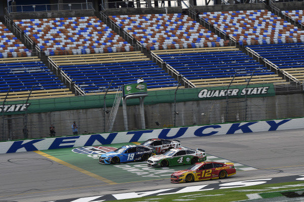 #19: Martin Truex Jr., Joe Gibbs Racing, Toyota Camry Auto Owners Insurance, #4: Kevin Harvick, Stewart-Haas Racing, Ford Mustang Hunt Brothers Pizza, #12: Ryan Blaney, Team Penske, Ford Mustang Advance Auto Parts and #41: Cole Custer, Stewart-Haas Racing, Ford Mustang HaasTooling.com