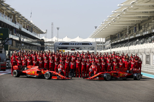 Ferrari Official Team Photo including, Sebastian Vettel, Ferrari, Charles Leclerc, Ferrari, Mattia Binotto, Team Principal Ferrari and Laurent Mekies, Sporting Director, Ferrari
