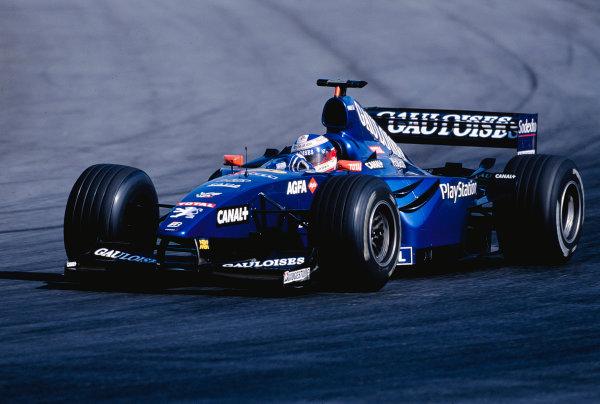 1999 Brazilian Grand Prix.Interlagos, Sao Paulo, Brazil. 9-11 April 1999.Olivier Panis (Prost AP02 Peugeot) 6th position.Ref-99 BRA 98.World Copyright - Gavin Lawrence/LAT Photographic