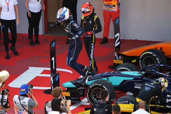 Nicholas Latifi (CAN, DAMS), celebrates in Parc Ferme after winning the race
