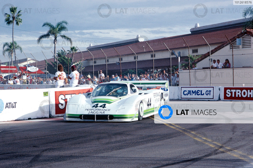 Del Mar 2 hours, California, USA. 25th October 1987. Rd 16.Hurley Haywood / John Morton (Jaguar XJR-7), 10th position, action.World Copyright: Murenbeeld/LAT Photographic. Ref: 87IMSA DM01.