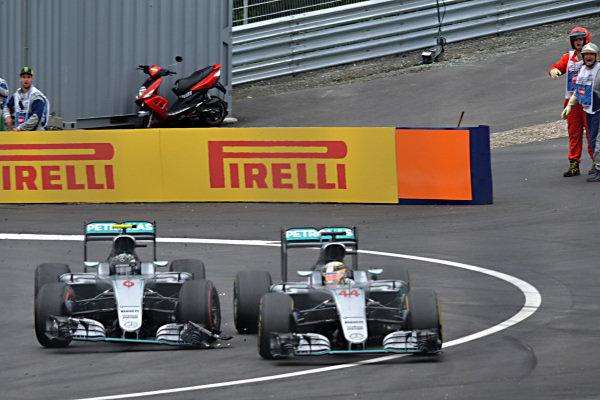 Nico Rosberg (GER) Mercedes-Benz F1 W07 Hybrid and Lewis Hamilton (GBR) Mercedes-Benz F1 W07 Hybrid collide on the last lap at Formula One World Championship, Rd9, Austrian Grand Prix, Race, Spielberg, Austria, Sunday 3 July 2016.
