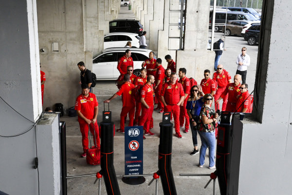 Ferrari personnel waiting for the FIA curfew to be lifted