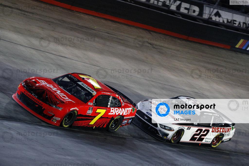 #7: Justin Allgaier, JR Motorsports, Chevrolet Camaro BRANDT and #22: Austin Cindric, Team Penske, Ford Mustang Discount Tire