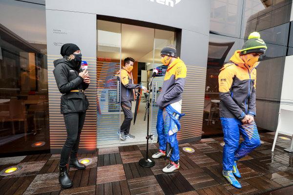 Carlos Sainz, McLaren, is interviewed for Sky Sports F1