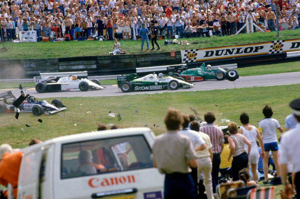 Brands Hatch, England.20-22 July 1984.Stefan Johansson, Tyrrell 012 Ford, goes off the track during lap 1, action.Ref-84 GB 17.World Copyright - LAT Photographic
