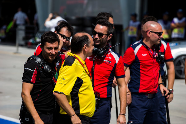 2016 GP3 Series Round 8 Sepang, Kuala Lumpur, Malaysia. Sunday 2 October 2016. S?bastien Philippe, Team Manager and Managing Director, ART & Julian Rouse. General Manager, Arden International and Frederic Vasseur, Racing Director, Renault Sport F1 Photo: Sam Bloxham/GP3 Series Media Service. ref: Digital Image _SLA4781