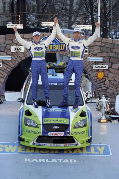 2006 FIA World Rally Champs. Round two Swedish Rally.2nd-5th February 2006.Marcus Gronholm, Ford, podium.World Copyright: McKlein/LAT