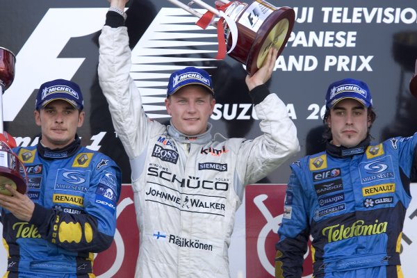 2005 Japanese Grand Prix Ð Sunday Race, Suzuka, Japan . 9th October  Race podium - winner Kimi Raikkonen, McLaren Mercedes MP4-20 (1st position), Giancarlo Fisichella, Renault R25 (2nd position) and Fernando Alonso, Renault R25 (3rd position). World Copyright: Peter Spinney/LAT Photographic  ref:Digital Image Only (a high res version is available on request)