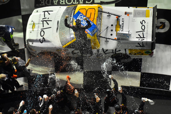 2017 Camping World Truck - NextEra Energy Resources 250 Daytona International Speedway, Daytona Beach, FL USA Friday 24 February 2017 Kaz Grala celebrates his win in Victory Lane World Copyright: Nigel Kinrade/LAT Images ref: Digital Image 17DAY2nk09938