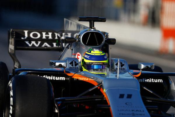 Circuit de Barcelona Catalunya, Barcelona, Spain. Thursday 02 March 2017. Sergio Perez, Force India VJM10 Mercedes.  World Copyright: Steven Tee/LAT Images ref: Digital Image _R3I7331