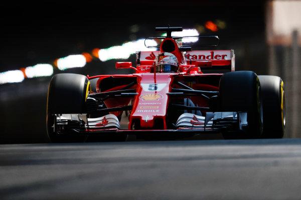 Monte Carlo, Monaco. Saturday 27 May 2017. Sebastian Vettel, Ferrari SF70H. World Copyright: Sam Bloxham/LAT Images ref: Digital Image _J6I1833