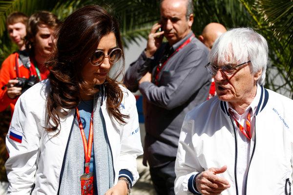 Sochi Autodrom, Sochi, Russia. Friday 28 April 2017. Bernie Ecclestone, Chairman Emiritus of Formula 1, with wife Fabiana in the paddock. World Copyright: Andy Hone/LAT Images ref: Digital Image _ONZ9519