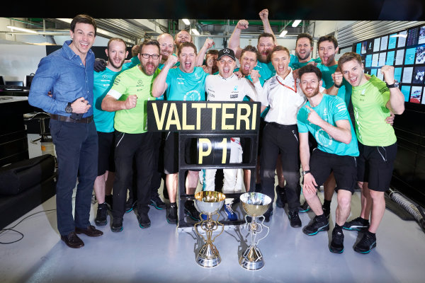Sochi Autodrom, Sochi, Russia. Sunday 30 April 2017. Valtteri Bottas, Mercedes AMG, 1st Position, and the Mercedes team celebrate victory. World Copyright: Steve Etherington/LAT Images ref: Digital Image SNE14827