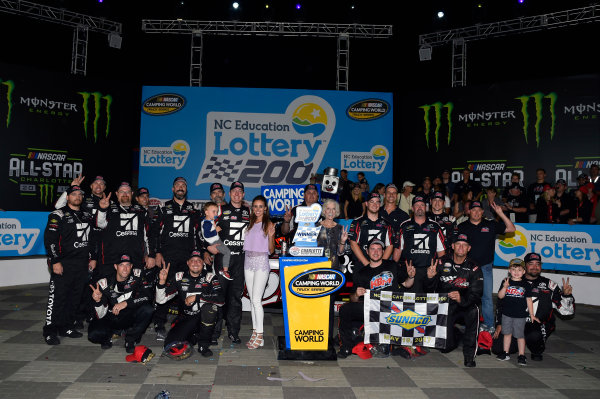 NASCAR Camping World Truck Series North Carolina Education Lottery 200 Charlotte Motor Speedway, Concord, NC USA Friday 19 May 2017 Kyle Busch, Cessna Toyota Tundra celebrates his win in Victory Lane World Copyright: Nigel Kinrade LAT Images ref: Digital Image 17CLT1nk04922