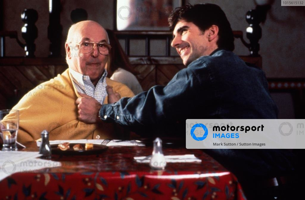 British TV Presenter Murray Walker and Damon Hill, right, as seen during a Pizza  Hut CommercialPizza Hut TV Comercial, 1996