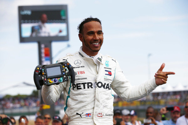 Lewis Hamilton, Mercedes AMG F1, celebrates after winning the race.