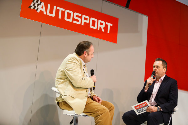 Autosport International Exhibition. National Exhibition Centre, Birmingham, UK. Thursday 11th January 2017. Bruce Wood of Cosworth talks to Henry-Hope Frost on the Autosport stage,World Copyright: Joe Portlock/LAT Images Ref: _U9I9877