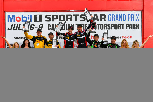 IMSA WeatherTech SportsCar Championship Mobil 1 SportsCar Grand Prix Canadian Tire Motorsport Park Bowmanville, ON CAN Sunday 9 July 2017 31, Cadillac DPi, P, Dane Cameron, Eric Curran, 85, ORECA, Misha Goikhberg, Stephen Simpson, 2, Nissan DPi, Scott Sharp, Ryan Dalziel, celebrates, win, winners, victory lane, podium World Copyright: Scott R LePage/LAT Images