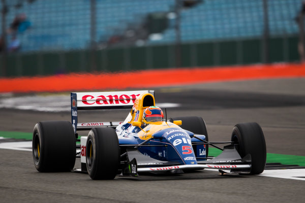 Silverstone, Northamptonshire, UK.  Saturday 15 July 2017. Karun Chandhok drives the Championship winning Williams FW14B Renault, raced in 1992 by Nigel Mansell, as part of the Williams 40th Anniversary celebrations. World Copyright: Dom Romney/LAT Images  ref: Digital Image GT2R3304