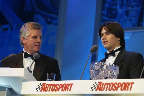 2003 AUTOSPORT AWARDS, The Grosvenor, London. 7th December 2003.Nelson Piquet Jnr, winner of the Paul Warwick trophy.Photo: Peter Spinney/LAT PhotographicRef: Digital Image only