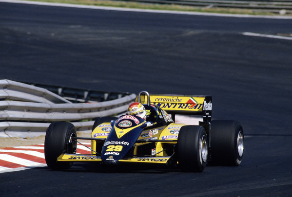 1985 Belgian Grand Prix. Spa-Francorchamps, Belgium. 2nd June 1985. Pierluigi Martini (Minardi M185 Motori Moderni) in action before the race was cancelled after practice when the newly-laid track broke up. Ref-85 BEL 39. World Copyright - LAT Photographic