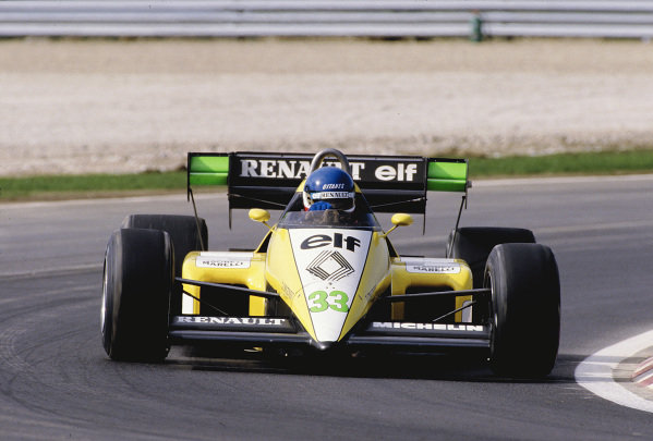 1984 Portuguese Grand Prix.Estoril, Portugal. 19-21 October 1984.Philippe Streiff (Renault RE50).Ref-84 POR 36.World Copyright - LAT Photographic