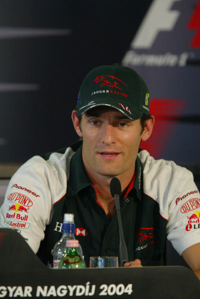 2004 Hungarian Grand Prix - Thursday,Hungaroring, Hungary.12th August 2004.Mark Webber, Jaguar R5, press conference.World Copyright LAT Photographic.Digital Image only (a high res version is available on request).