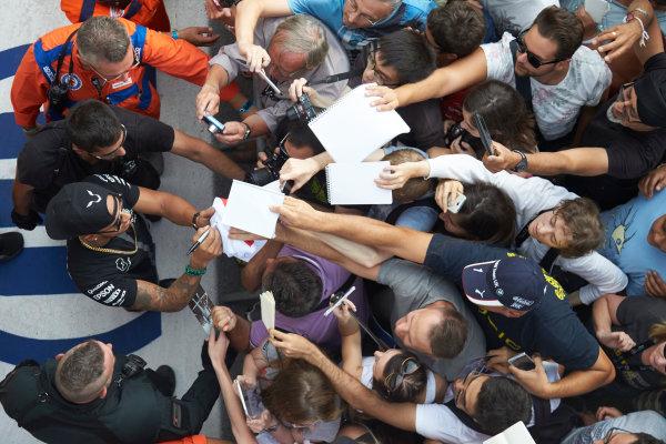 Autodromo Nazionale di Monza, Monza, Italy. Thursday 3 September 2015. Lewis Hamilton, Mercedes AMG, signs autographs for fans. World Copyright: Steve Etherington/LAT Photographic ref: Digital Image SNE23431