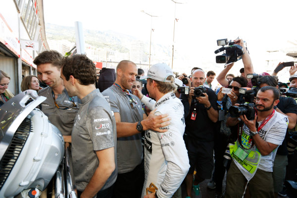 Monte Carlo, Monaco 26th May 2013 Nico Rosberg celebrates his win with the Mercedes team.  World Copyright: Charles Coates/LAT Photographic ref: Digital Image _N7T1343