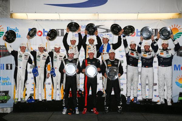 19-21 March, 2015, Sebring, Florida, USA Class winners podium ©2015, Michael L. Levitt LAT Photo USA