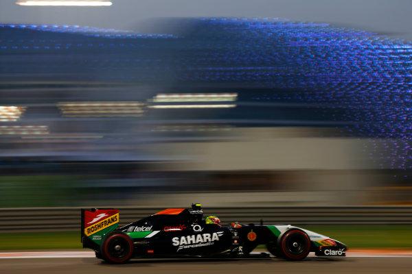 Yas Marina Circuit, Abu Dhabi, United Arab Emirates. Saturday 22 November 2014. Sergio Perez, Force India VJM07 Mercedes. World Copyright: Andy Hone/LAT Photographic. ref: Digital Image _ONY0588