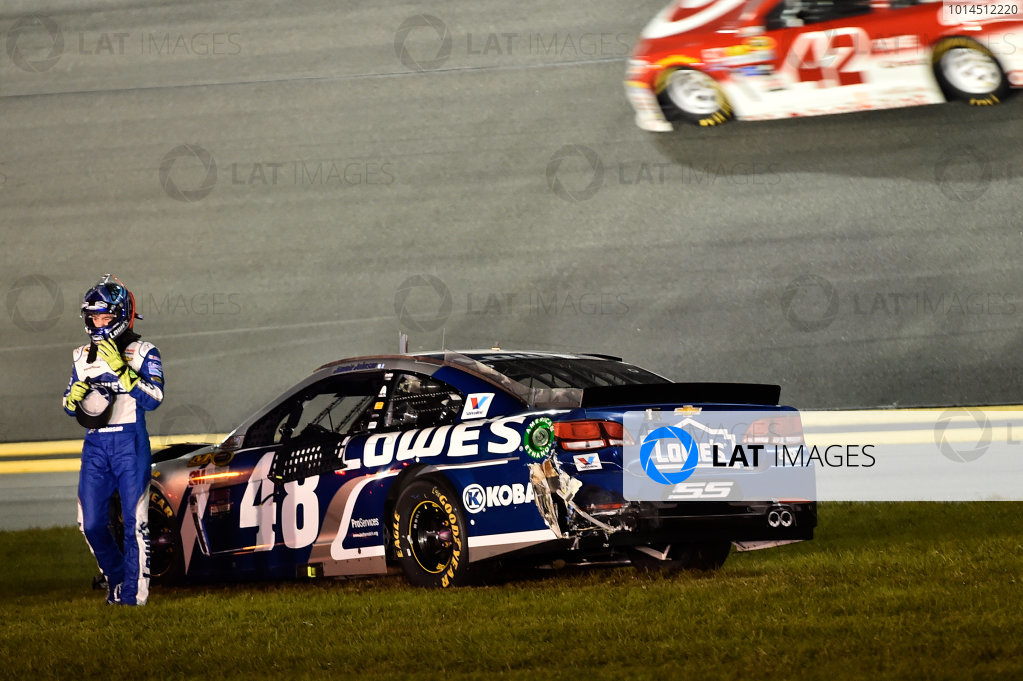18 February, 2016, Daytona Beach, Florida USA Jimmie Johnson (48), wreck ?2016, John Harrelson / LAT Photo USA