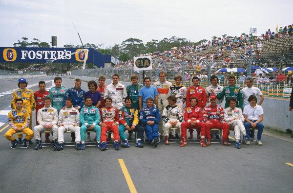 1988 Australian Grand Prix. Adelaide, Australia. 11th - 13th November 1988. Drivers end of season group photo. World Copyright: LAT Photographic.  Ref:  88AUS
