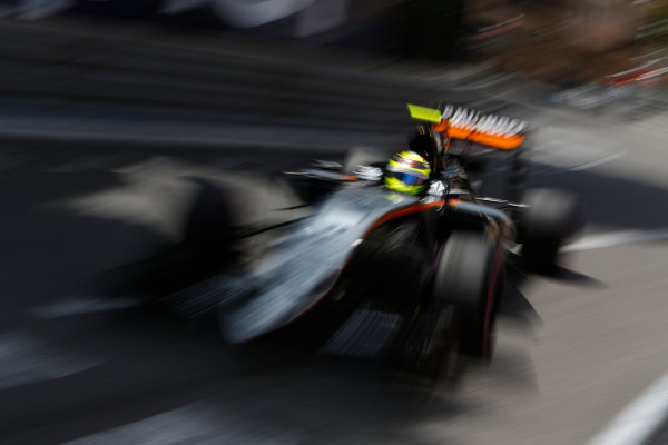 Monte Carlo, Monaco. Thursday 26 May 2016. Sergio Perez, Force India VJM09 Mercedes. World Copyright: Andrew Ferraro/LAT Photographic ref: Digital Image _14P7082